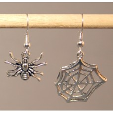 Pair of Earrings - Tarantula and Web