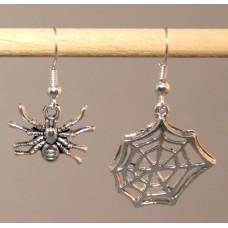 Pair of Earrings - Tarantula and Web